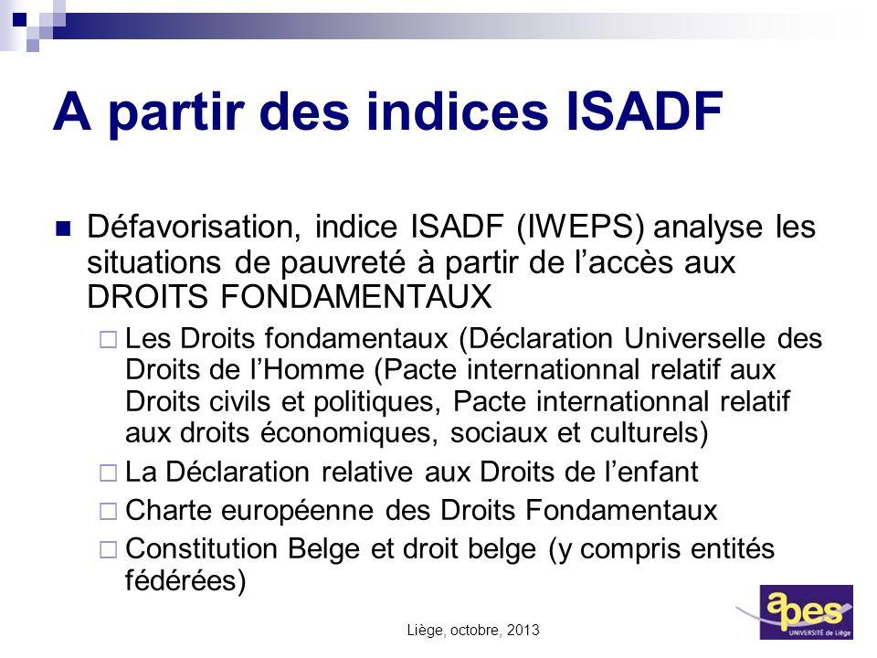 A partir des indices ISADF Défavorisation, indice ISADF (IWEPS) analyse les situations de pauvreté à partir de laccès aux DROITS FONDAMENTAUX Les Droi