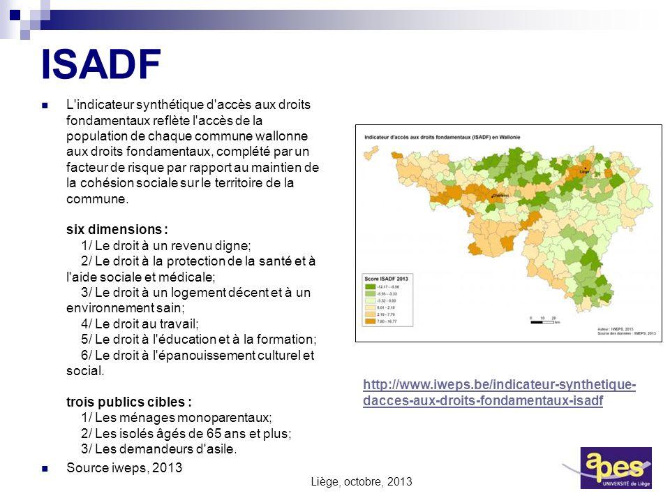 ISADF L'indicateur synthétique d'accès aux droits fondamentaux reflète l'accès de la population de chaque commune wallonne aux droits fondamentaux, co