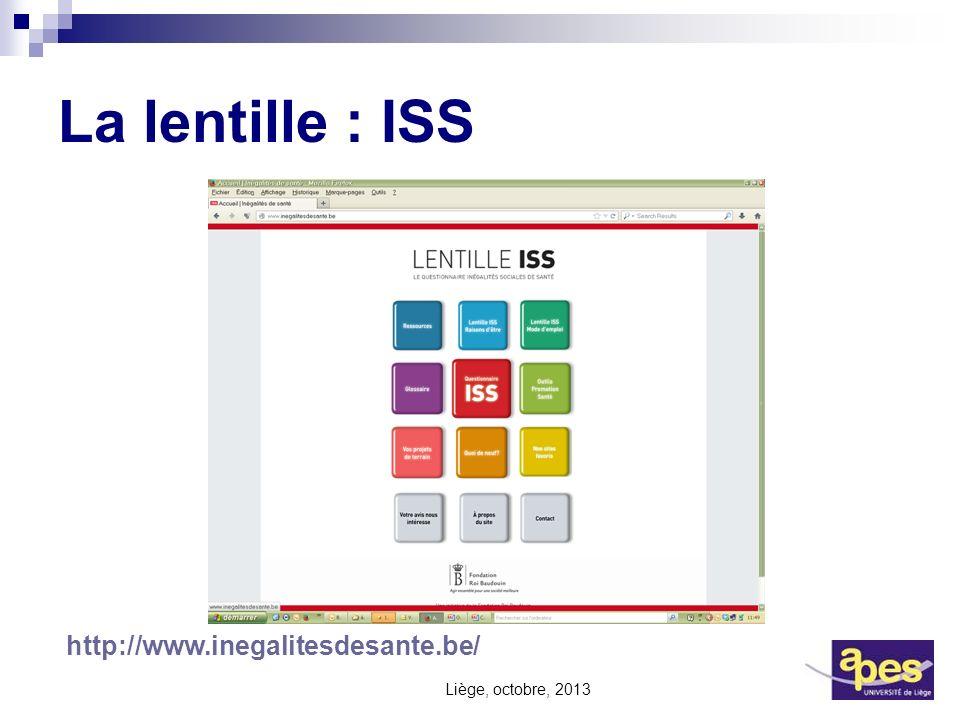 La lentille : ISS Liège, octobre, 2013 http://www.inegalitesdesante.be/