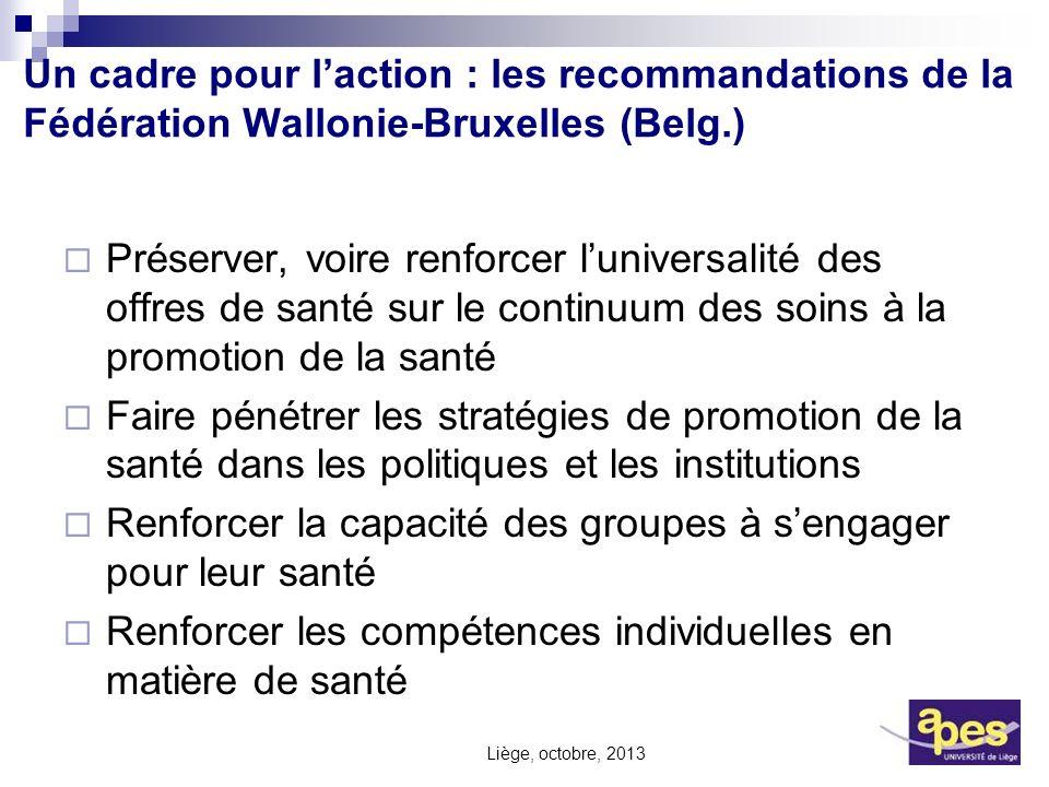 Un cadre pour laction : les recommandations de la Fédération Wallonie-Bruxelles (Belg.) Préserver, voire renforcer luniversalité des offres de santé s