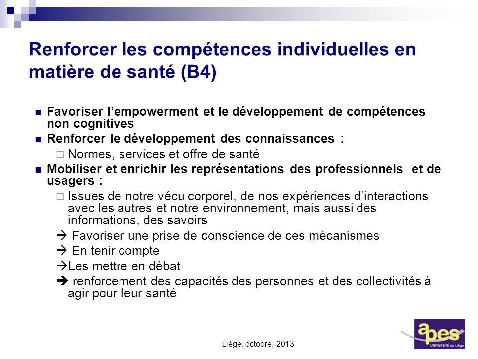Renforcer les compétences individuelles en matière de santé (B4) Favoriser lempowerment et le développement de compétences non cognitives Renforcer le