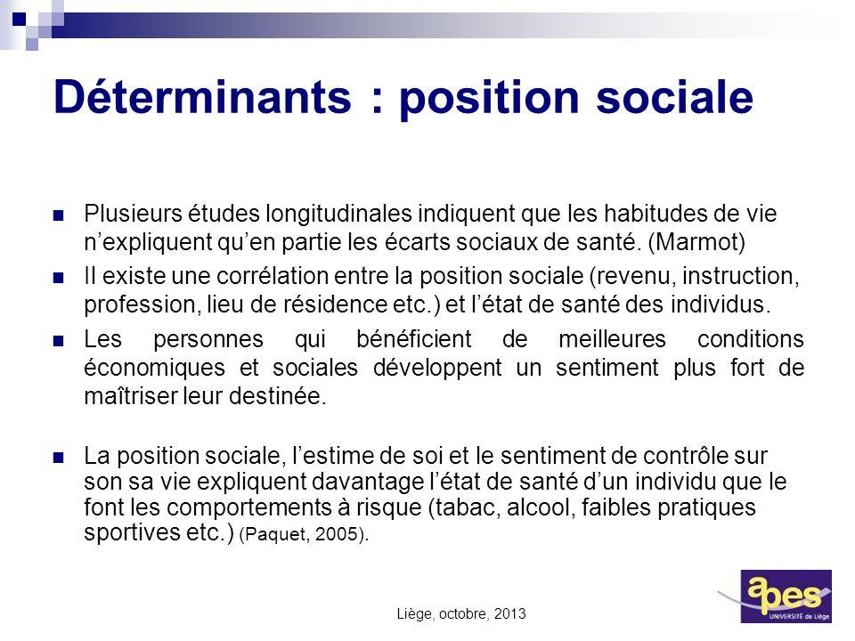 Déterminants : position sociale Plusieurs études longitudinales indiquent que les habitudes de vie nexpliquent quen partie les écarts sociaux de santé