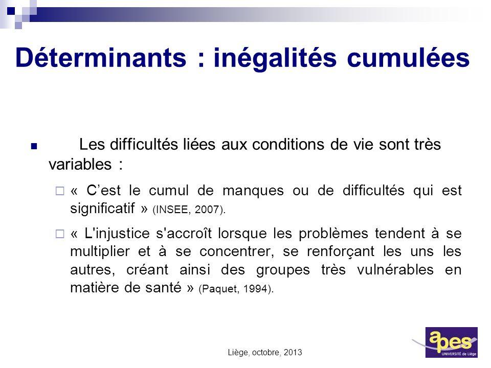 Déterminants : inégalités cumulées Les difficultés liées aux conditions de vie sont très variables : « Cest le cumul de manques ou de difficultés qui