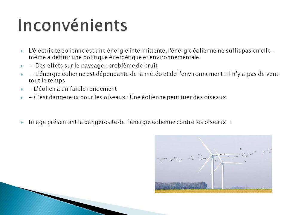 L'électricité éolienne est une énergie intermittente, l'énergie éolienne ne suffit pas en elle- même à définir une politique énergétique et environnem