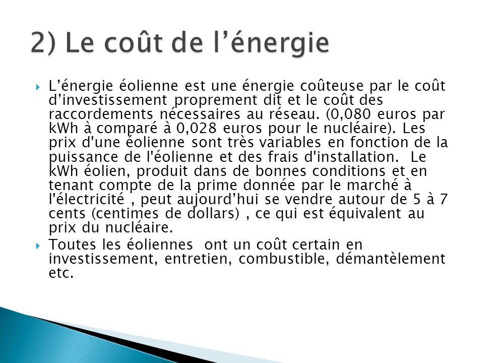 Lénergie éolienne est une énergie coûteuse par le coût dinvestissement proprement dit et le coût des raccordements nécessaires au réseau. (0,080 euros