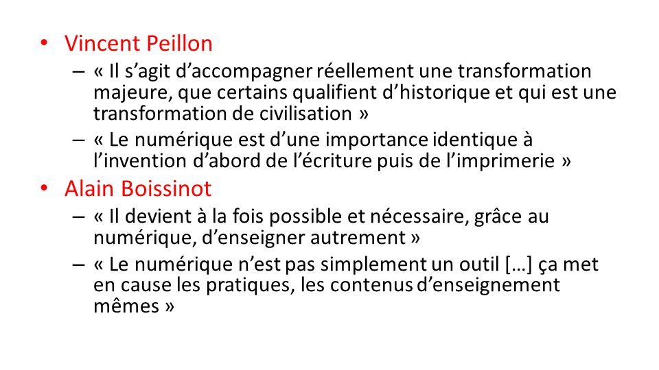 Vincent Peillon – « Il sagit daccompagner réellement une transformation majeure, que certains qualifient dhistorique et qui est une transformation de