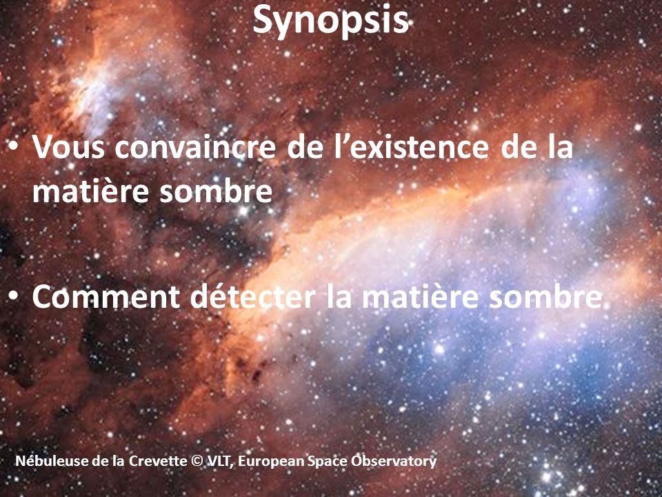 Nébuleuse de la Crevette © VLT, European Space Observatory Vous convaincre de lexistence de la matière sombre Comment détecter la matière sombre Synop