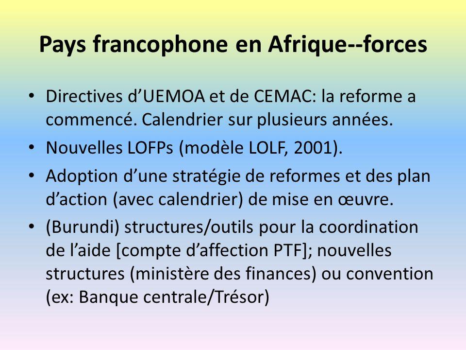 Pays francophone en Afrique--faiblesses La volonté politique nest pas toujours acquis.