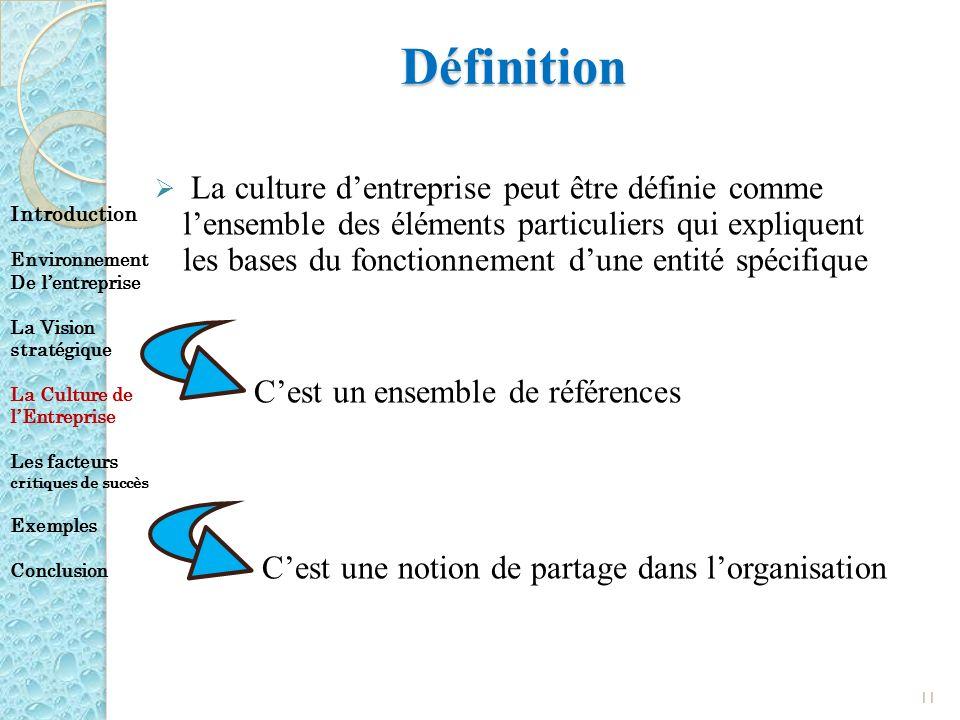 Définition La culture dentreprise peut être définie comme lensemble des éléments particuliers qui expliquent les bases du fonctionnement dune entité s