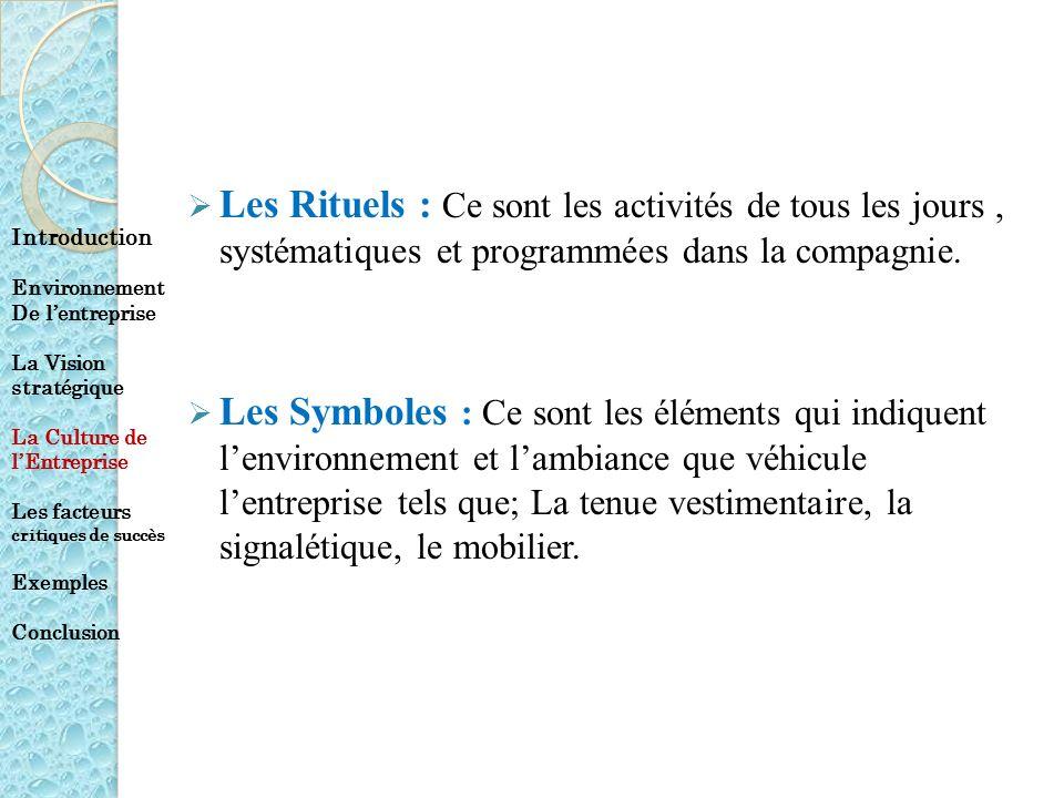Les Rituels : Ce sont les activités de tous les jours, systématiques et programmées dans la compagnie. Les Symboles : Ce sont les éléments qui indique