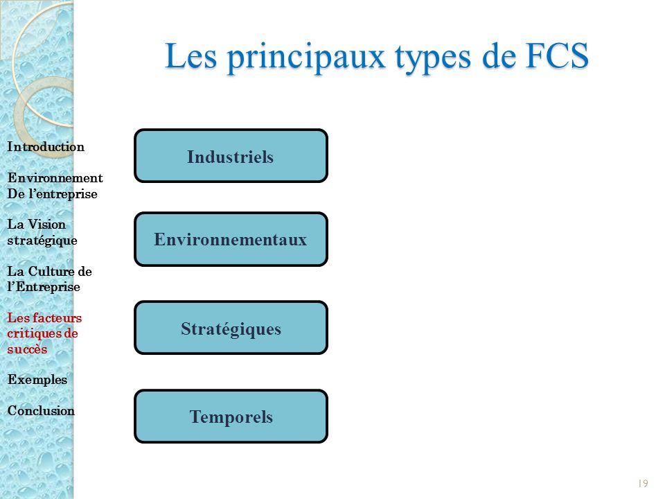 Les principaux types de FCS 19 Industriels Environnementaux Stratégiques Temporels Introduction Environnement De lentreprise La Vision stratégique La