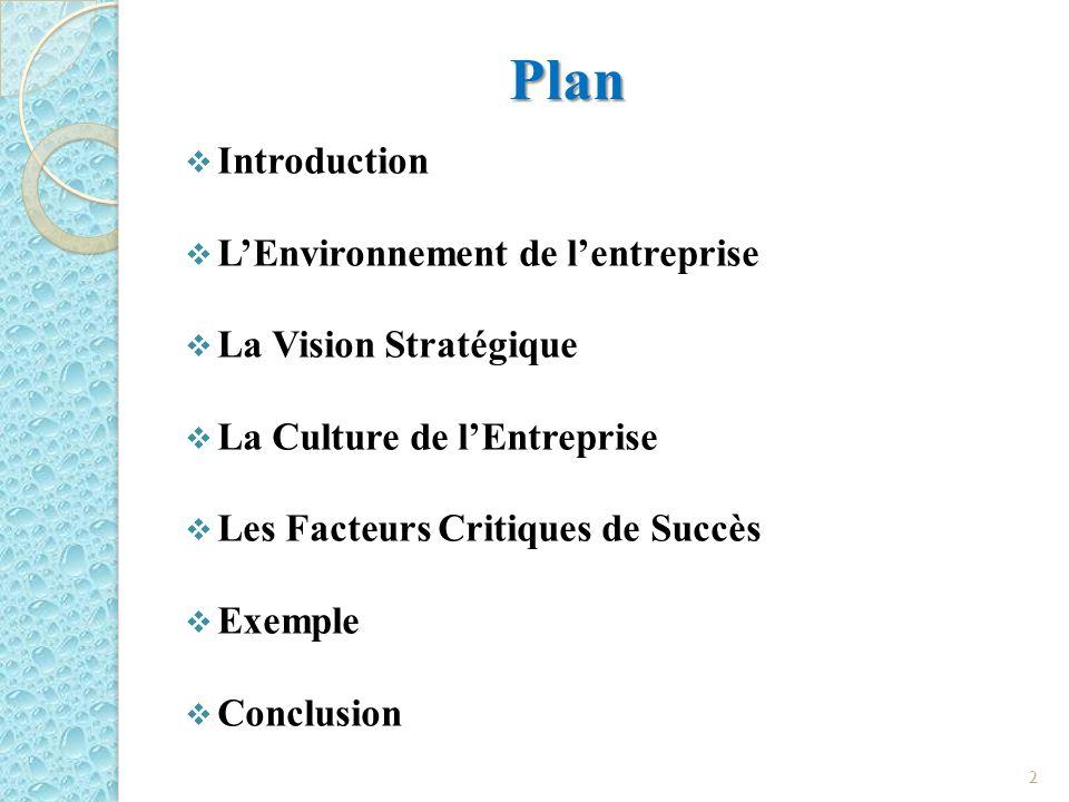 Plan Introduction LEnvironnement de lentreprise La Vision Stratégique La Culture de lEntreprise Les Facteurs Critiques de Succès Exemple Conclusion 2