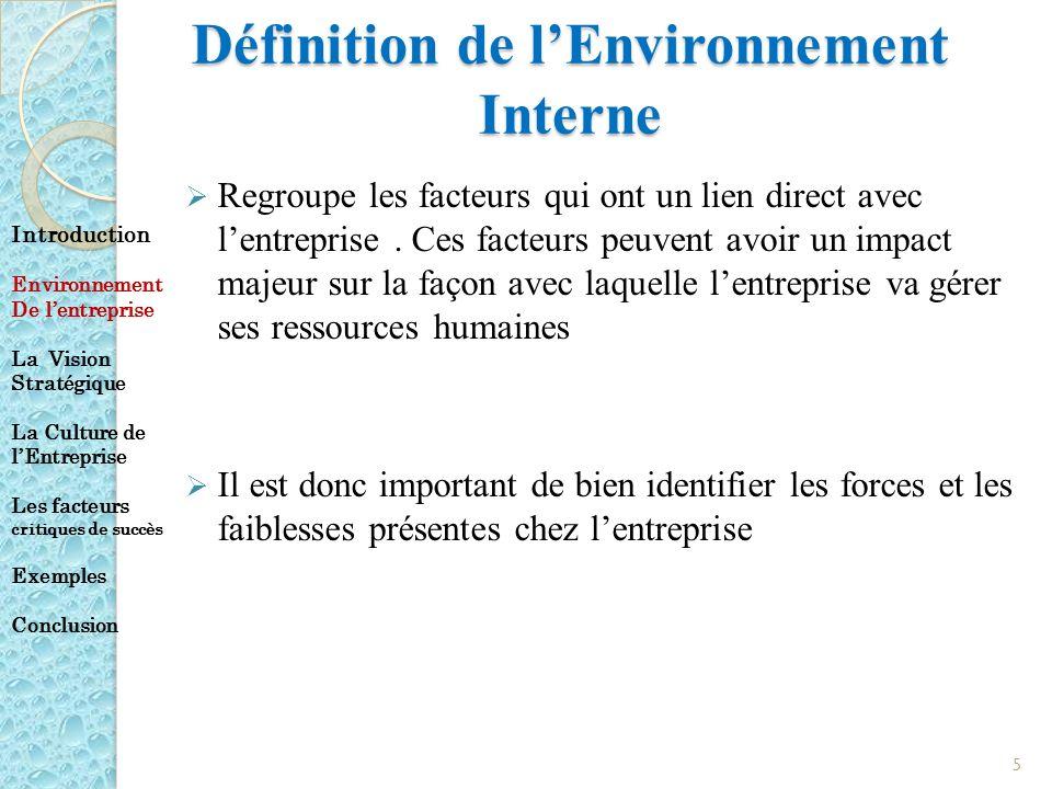 Définition de lEnvironnement Interne Regroupe les facteurs qui ont un lien direct avec lentreprise. Ces facteurs peuvent avoir un impact majeur sur la