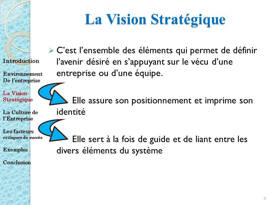 La Vision Stratégique Cest lensemble des éléments qui permet de définir lavenir désiré en sappuyant sur le vécu dune entreprise ou dune équipe. Elle a