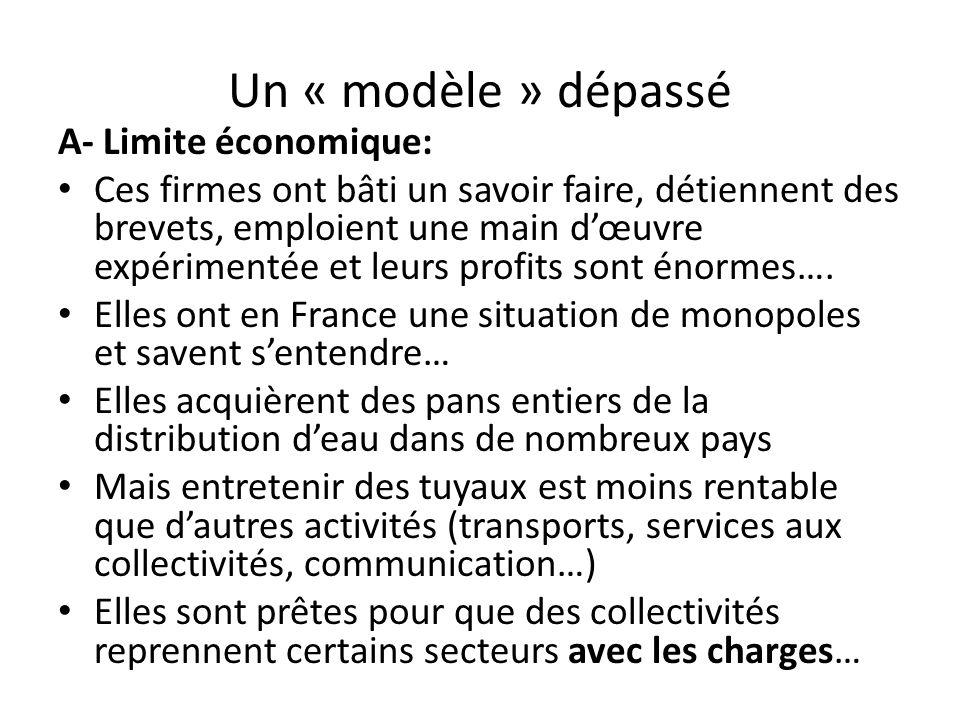 Un « modèle » dépassé A- Limite économique: Ces firmes ont bâti un savoir faire, détiennent des brevets, emploient une main dœuvre expérimentée et leurs profits sont énormes….