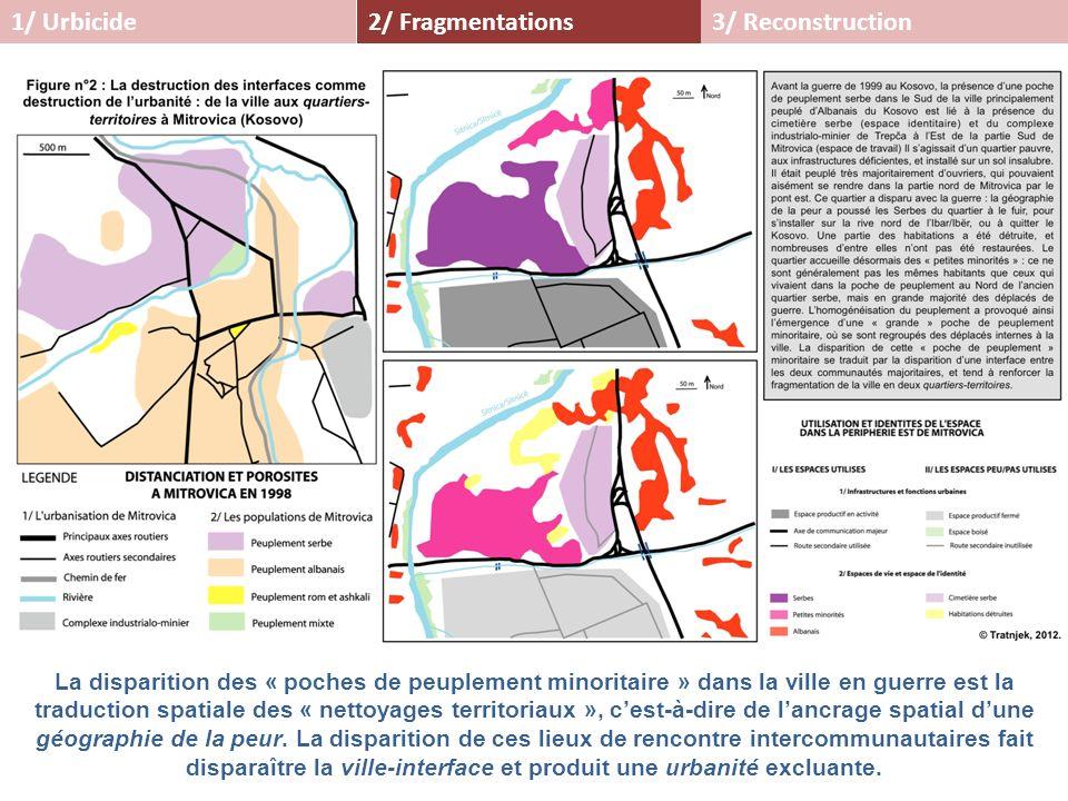 2/ Fragmentations1/ Urbicide3/ Reconstruction La disparition des « poches de peuplement minoritaire » dans la ville en guerre est la traduction spatia