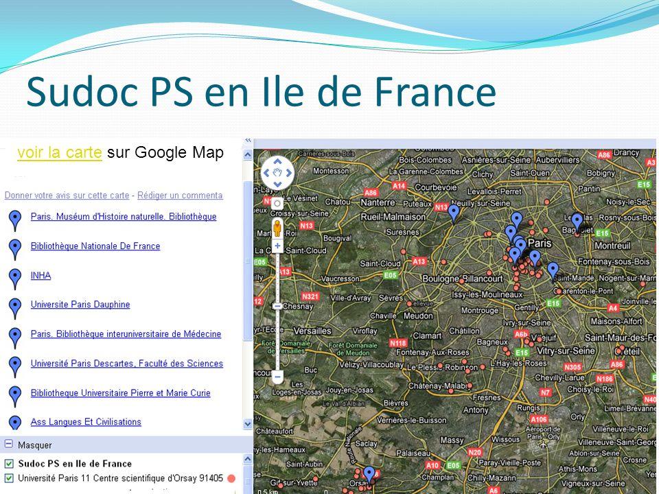 Sudoc PS en Ile de France voir la cartevoir la carte sur Google Map