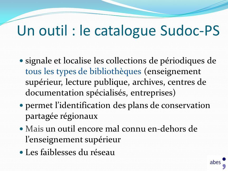 signale et localise les collections de périodiques de tous les types de bibliothèques (enseignement supérieur, lecture publique, archives, centres de