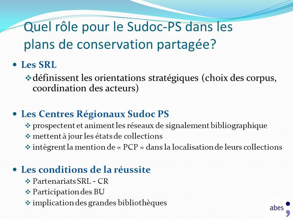 Quel rôle pour le Sudoc-PS dans les plans de conservation partagée? Les SRL définissent les orientations stratégiques (choix des corpus, coordination