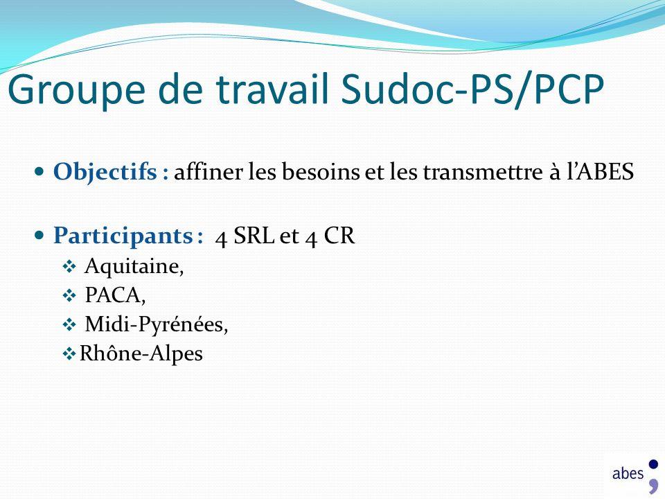 Groupe de travail Sudoc-PS/PCP Objectifs : affiner les besoins et les transmettre à lABES Participants : 4 SRL et 4 CR Aquitaine, PACA, Midi-Pyrénées,