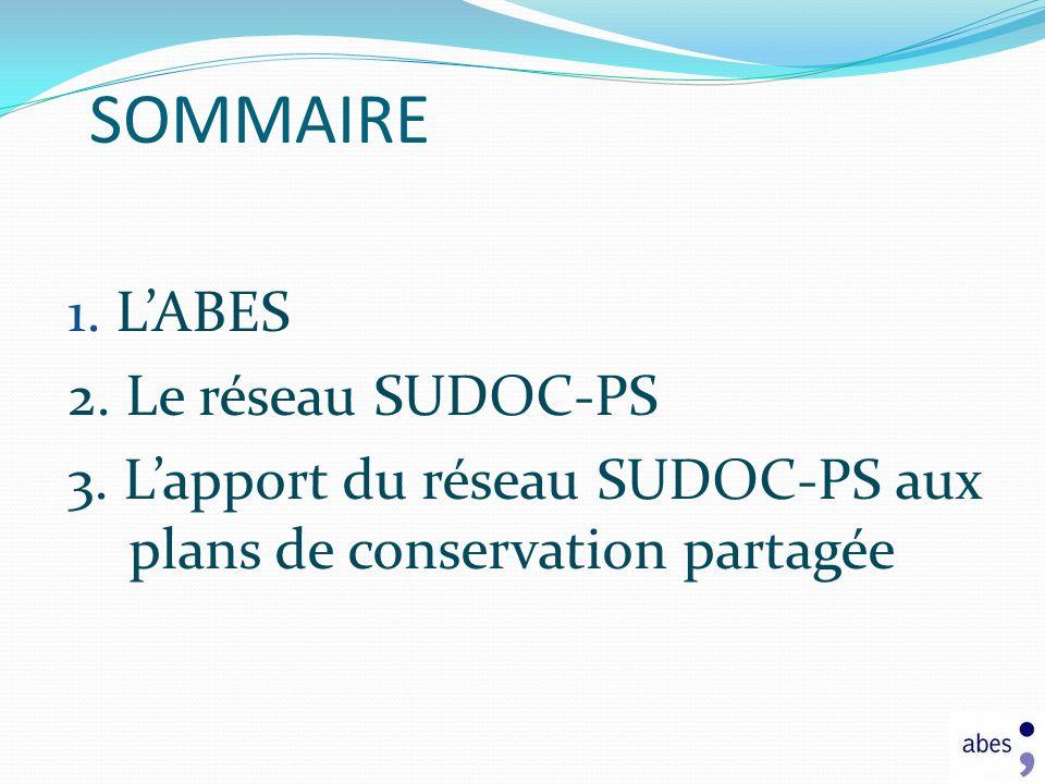 SOMMAIRE 1. LABES 2. Le réseau SUDOC-PS 3. Lapport du réseau SUDOC-PS aux plans de conservation partagée