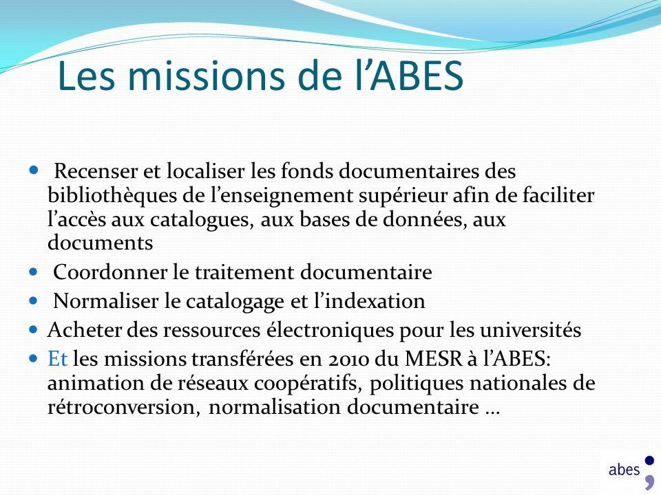 Les missions de lABES Recenser et localiser les fonds documentaires des bibliothèques de lenseignement supérieur afin de faciliter laccès aux catalogu