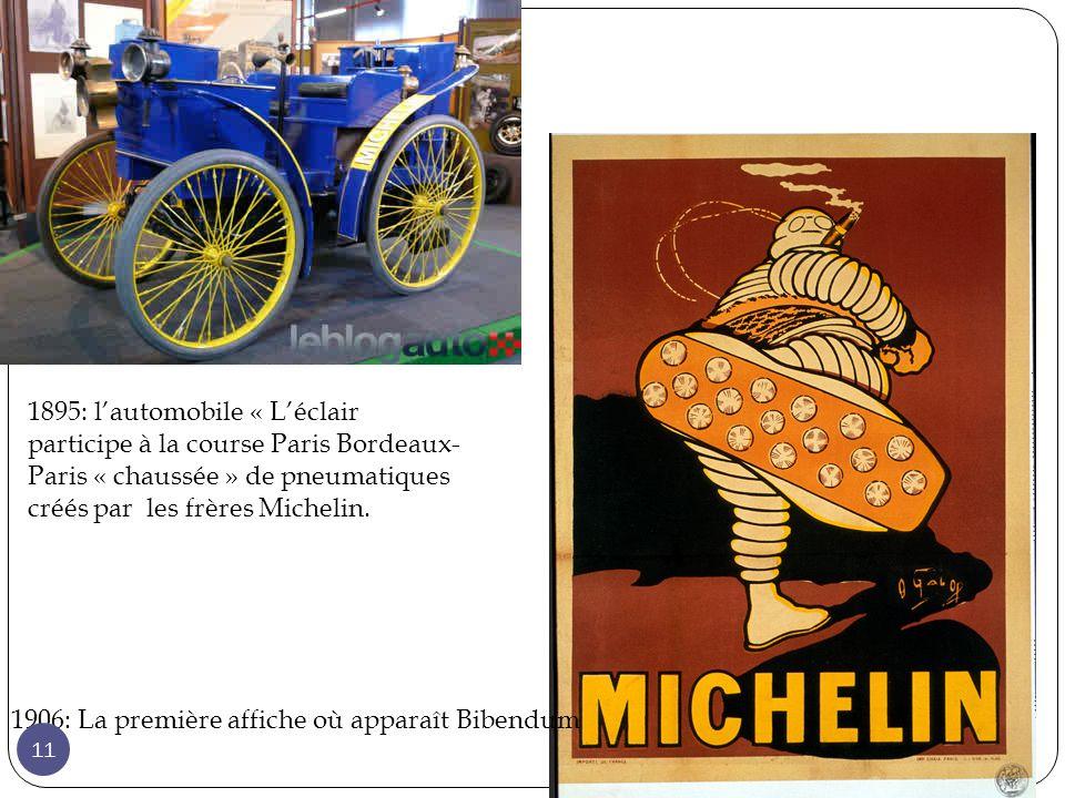 1895: lautomobile « Léclair participe à la course Paris Bordeaux- Paris « chaussée » de pneumatiques créés par les frères Michelin.