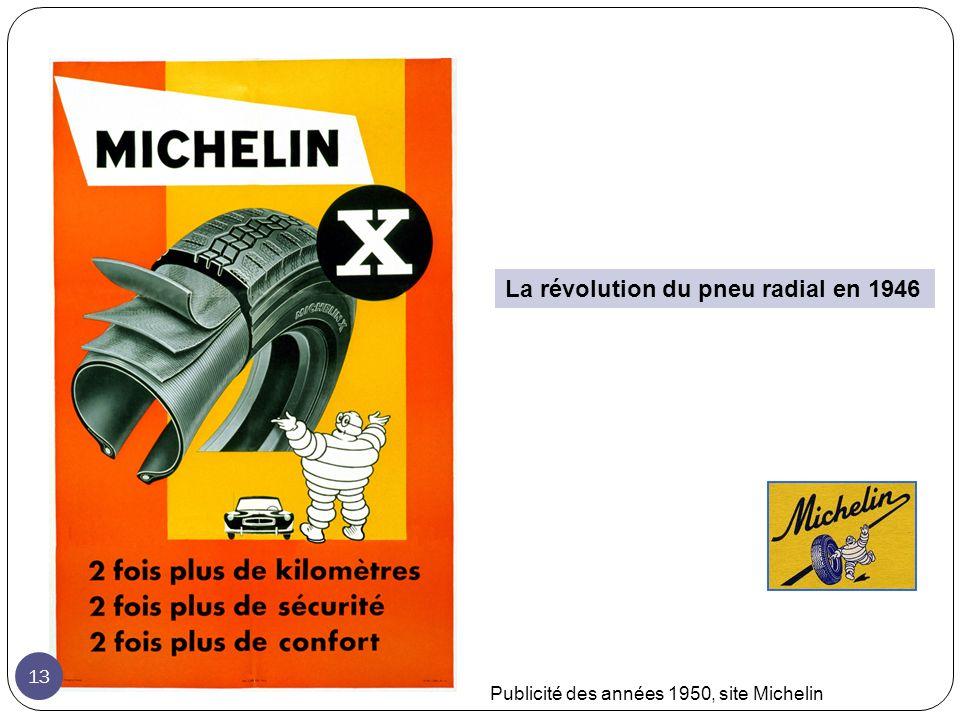 La révolution du pneu radial en 1946 Publicité des années 1950, site Michelin 13