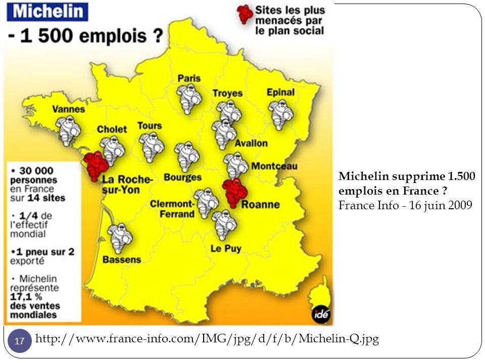 Michelin supprime 1.500 emplois en France .