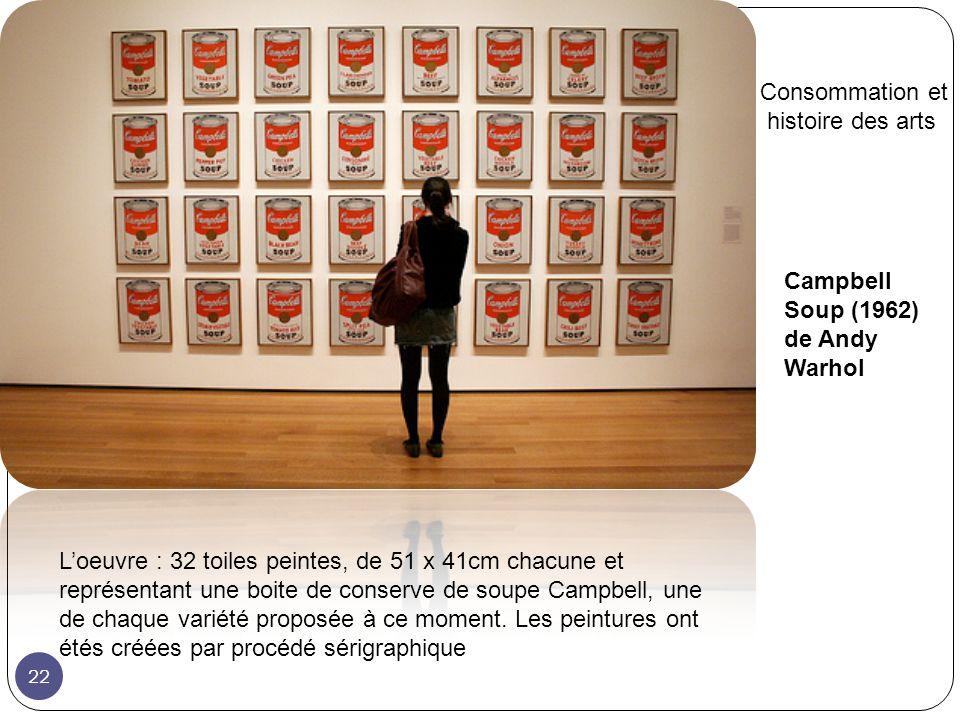 Campbell Soup (1962) de Andy Warhol Loeuvre : 32 toiles peintes, de 51 x 41cm chacune et représentant une boite de conserve de soupe Campbell, une de chaque variété proposée à ce moment.