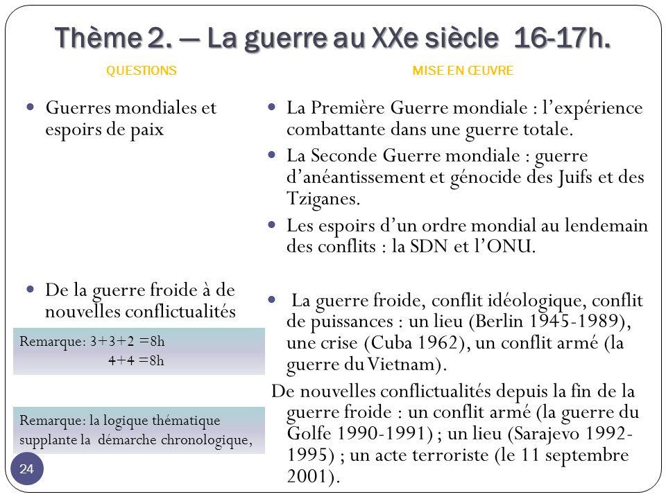 Thème 2.La guerre au XXe siècle 16-17h.