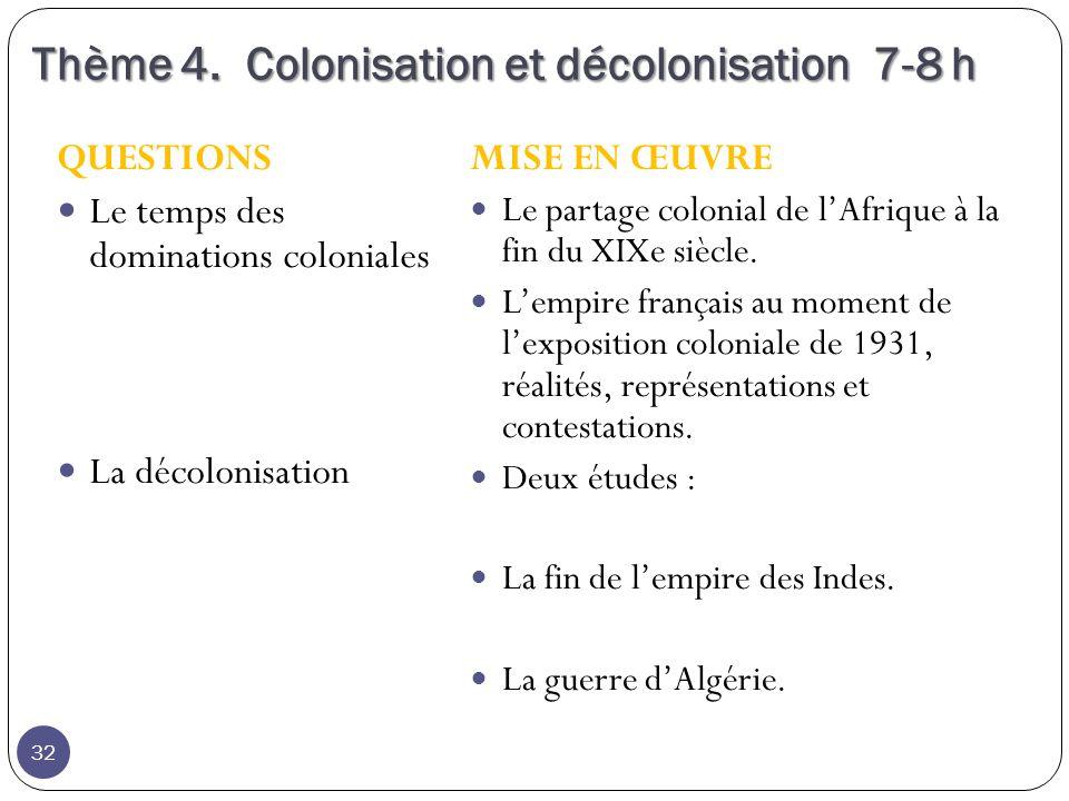 Thème 4.Colonisation et décolonisation 7-8 h Thème 4.