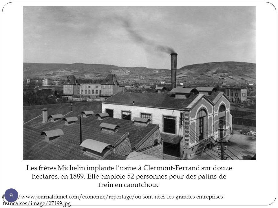 Les frères Michelin implante lusine à Clermont-Ferrand sur douze hectares, en 1889.