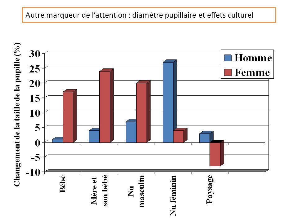 Autre marqueur de lattention : diamètre pupillaire et effets culturel Changement de la taille de la pupille (%)