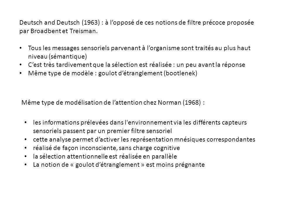 Deutsch and Deutsch (1963) : à lopposé de ces notions de filtre précoce proposée par Broadbent et Treisman. Tous les messages sensoriels parvenant à l