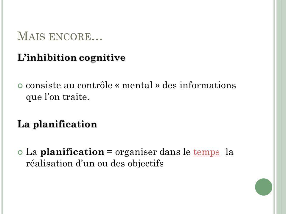 M AIS ENCORE … Linhibition cognitive consiste au contrôle « mental » des informations que lon traite.