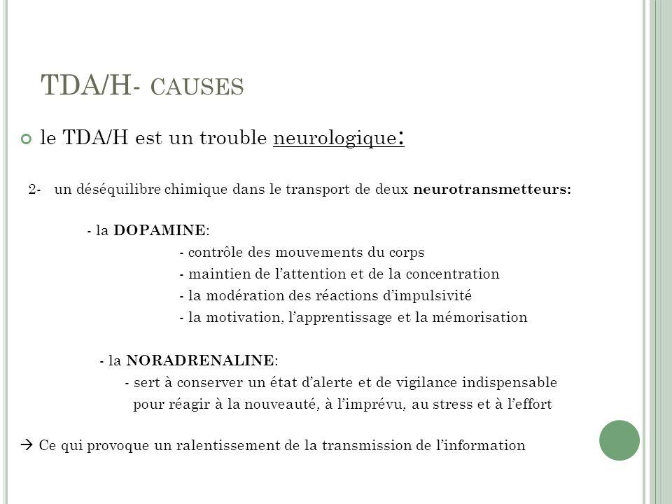 TDA/H- CAUSES le TDA/H est un trouble neurologique : 2- un déséquilibre chimique dans le transport de deux neurotransmetteurs: - la DOPAMINE : - contrôle des mouvements du corps - maintien de lattention et de la concentration - la modération des réactions dimpulsivité - la motivation, lapprentissage et la mémorisation - la NORADRENALINE : - sert à conserver un état dalerte et de vigilance indispensable pour réagir à la nouveauté, à limprévu, au stress et à leffort Ce qui provoque un ralentissement de la transmission de linformation