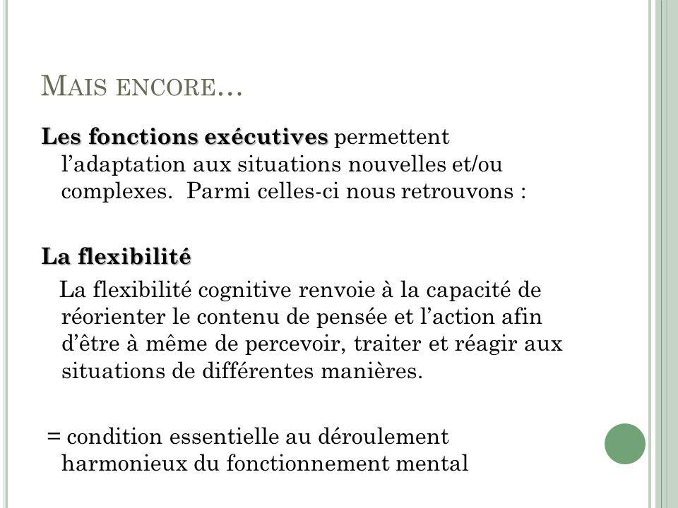 M AIS ENCORE … Les fonctions exécutives Les fonctions exécutives permettent ladaptation aux situations nouvelles et/ou complexes.