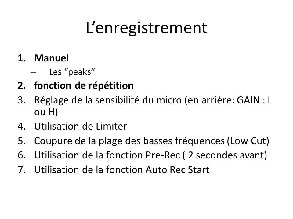 1.Manuel – Les peaks 2.fonction de répétition 3.Réglage de la sensibilité du micro (en arrière: GAIN : L ou H) 4.Utilisation de Limiter 5.Coupure de la plage des basses fréquences (Low Cut) 6.Utilisation de la fonction Pre-Rec ( 2 secondes avant) 7.Utilisation de la fonction Auto Rec Start