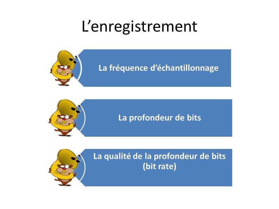 Lenregistrement La fréquence déchantillonnage La profondeur de bits La qualité de la profondeur de bits (bit rate)