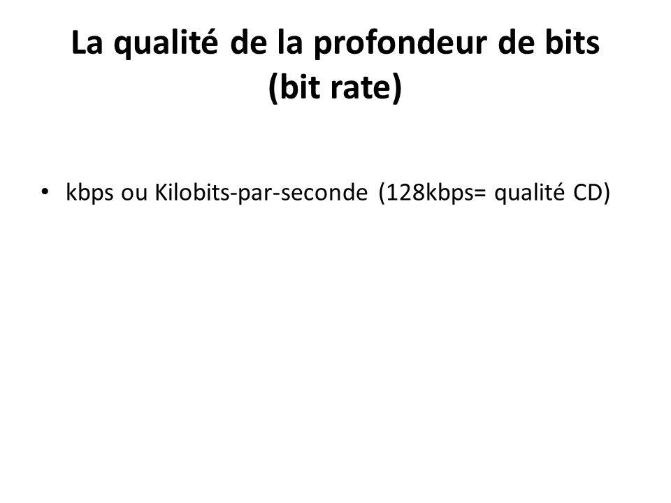 La qualité de la profondeur de bits (bit rate) kbps ou Kilobits-par-seconde (128kbps= qualité CD)