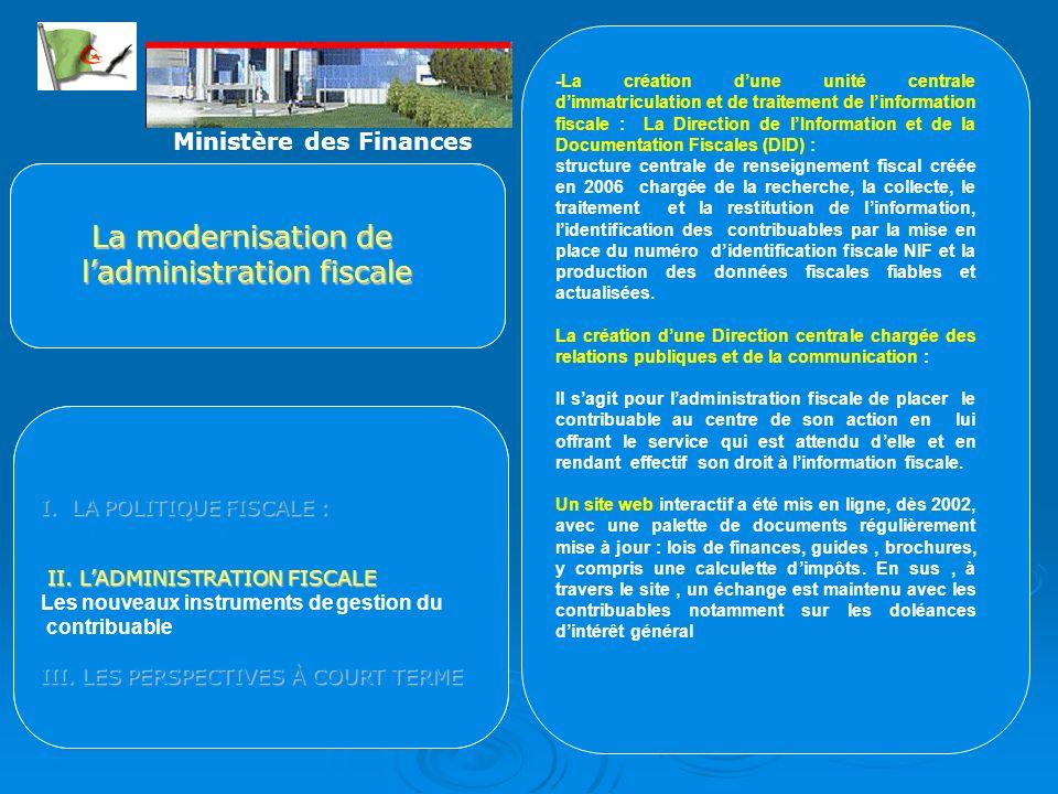 Cette organisation sest traduite par la création de trois nouvelles grandes structures : la Direction des Grandes Entreprises (DGE), le Centre des Imp