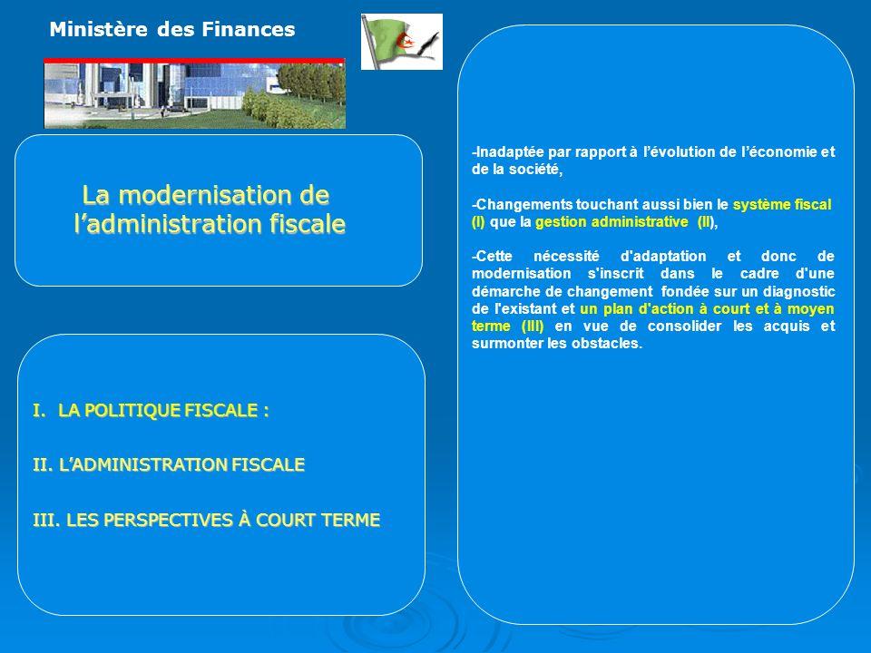 La modernisation de ladministration fiscale I.LA POLITIQUE FISCALE : II.