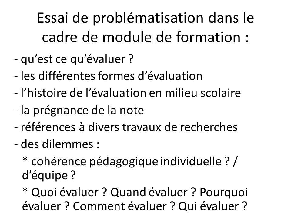 Essai de problématisation dans le cadre de module de formation : - quest ce quévaluer ? - les différentes formes dévaluation - lhistoire de lévaluatio
