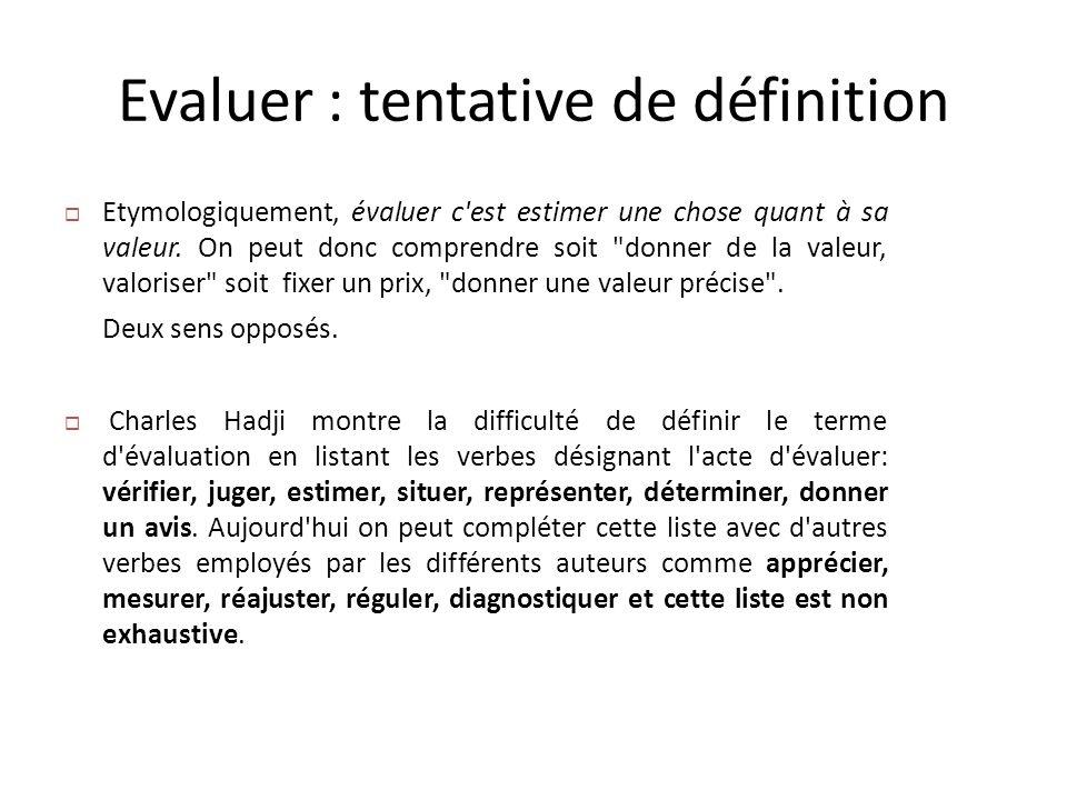 Evaluer : tentative de définition Etymologiquement, évaluer c'est estimer une chose quant à sa valeur. On peut donc comprendre soit