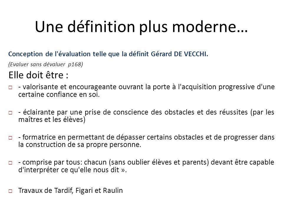 Une définition plus moderne… Conception de l'évaluation telle que la définit Gérard DE VECCHI. (Evaluer sans dévaluer p168) Elle doit être : - valoris