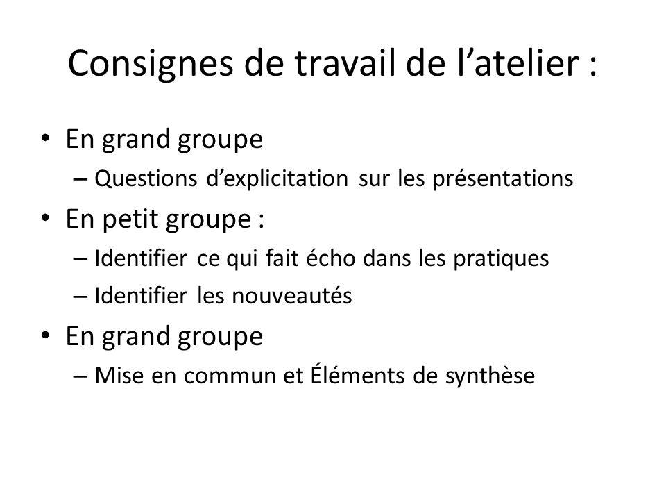 Consignes de travail de latelier : En grand groupe – Questions dexplicitation sur les présentations En petit groupe : – Identifier ce qui fait écho da