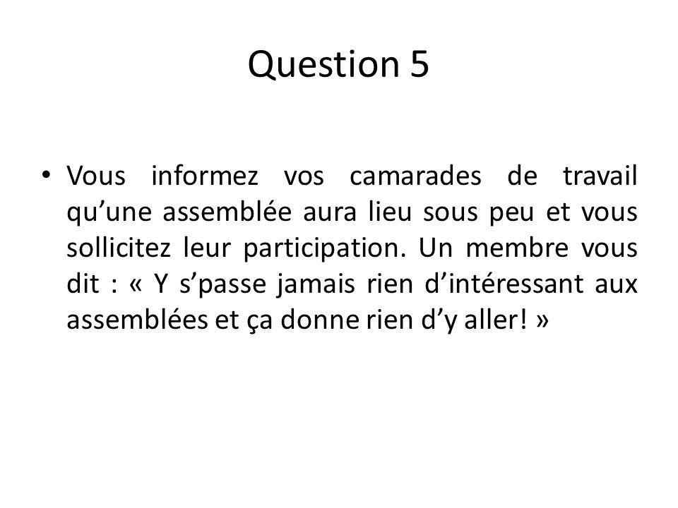Question 5 Vous informez vos camarades de travail quune assemblée aura lieu sous peu et vous sollicitez leur participation.