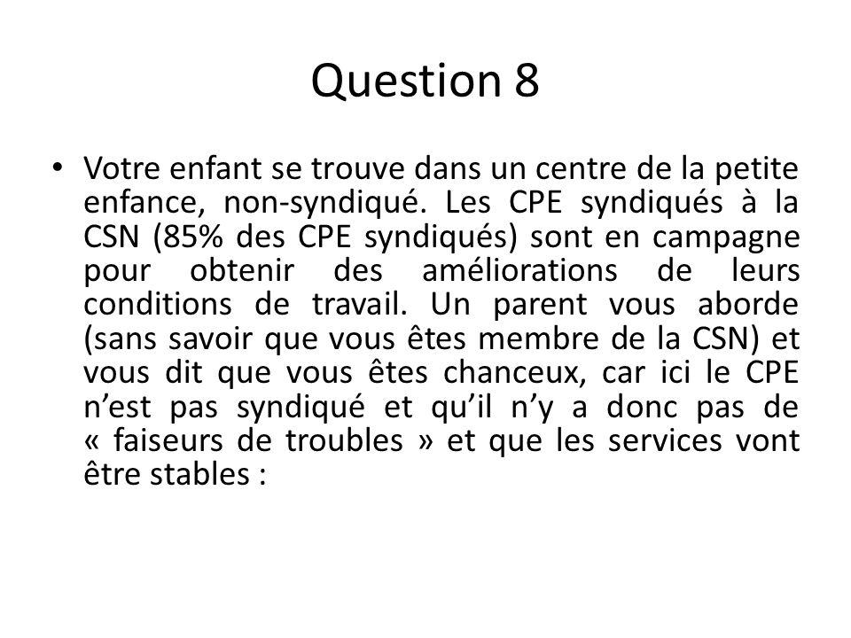 Question 8 Votre enfant se trouve dans un centre de la petite enfance, non-syndiqué.
