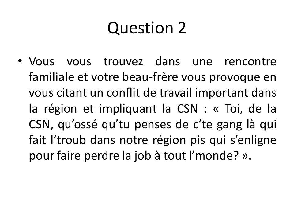 Choix de réponses A) Vous le questionnez sur ce quil connaît vraiment du conflit et vous lui en expliquez les enjeux réels.